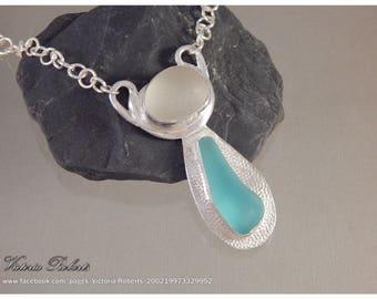 Sea Glass Necklace Aqua and White in Fine Silver