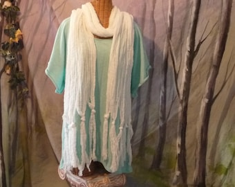 White Tassel Scarf, Boho, Beach, Long, Fringe, Knotted, Cotton Accessories Fashion Womens