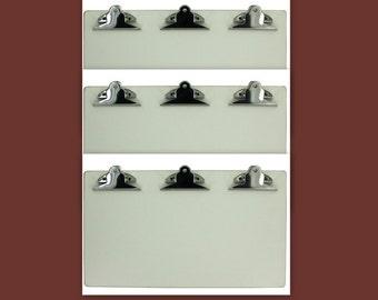 SALE - 3 White Clipboards Triple Clip 13 x 7.5 in