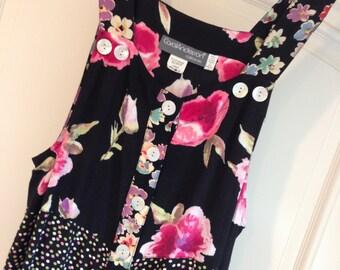 Carol Anderson Size L Black Pink Green Floral Rayon Long Jumper Dress