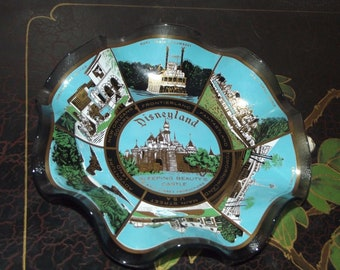Vintage Disney Disneyland Glass Candy Dish Plate Bowl Sleeping Beauty's Castle