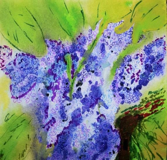 Painting, watercolor, Lilacs