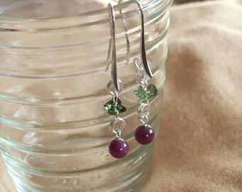 Moldavite and Ruby in Zoisite  in Sterling Silver Drop Earrings