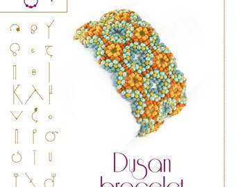 Beading tutorial / pattern Dusan bracelet. Beading instruction in PDF – for personal use only