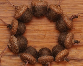 Chocolate Brown Wool Felted Acorns OR Felted Acorn Ornaments
