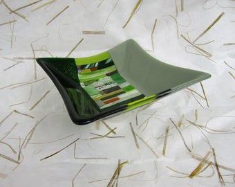 Green vs Green Fused Glass Dish