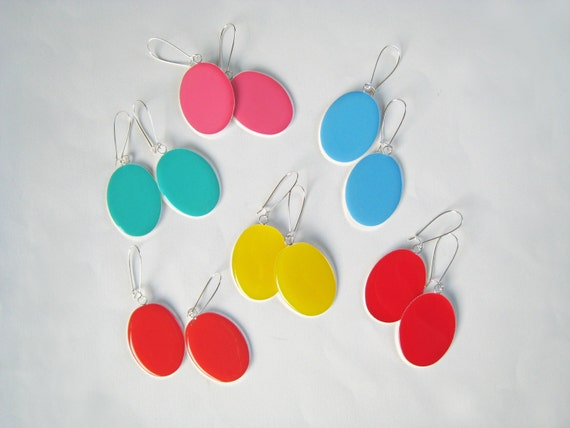 Colorful earrings, statement earrings, resin earrings, big oval long earrings, choose your color, color block jewelry, lightweight earrings