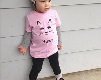 girls cat shirt - personalized with name