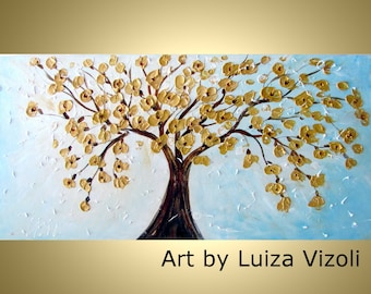 Original Abstract 72x36 Large Impressionist Tree Flowers Painting WHITE Gold BLOSSOM  contemporary artwork by Luiza Vizoli