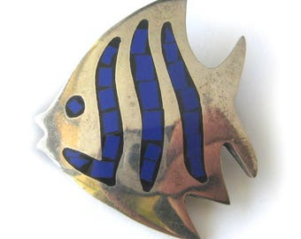 Vintage Angel Fish Taxco Mexican Sterling Silver with Blue Stonel Inlay /Angel FISH Brooch Pin