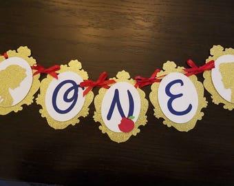 Snow white ONE birthday banner