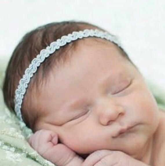 Baby Headband, Silver Headband, Girl Headband, Silver Halo Headband, Newborn Headband, Infant Headbands, Headbands Wedding
