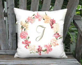Personalized Pillow Cover - Pillow - Carnation Wreath Pink Cream Cottage Monogram Decor -  16x 18x 20x 22x 24x 26x 28x Inch Cushion Cover