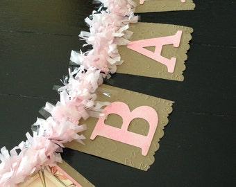 Baby Banner, Baby Girl Banner, Baby Shower Banner, Baby Girl Shower Banner, Vintage Baby Shower Banner