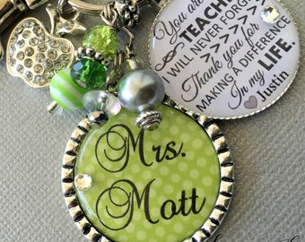 Personalized TEACHER gift end of year GIFT You are a teacher I will never forget Thank you for making a difference in my life, apple charm