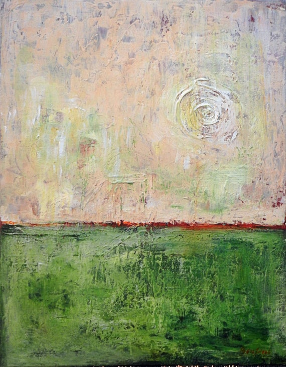Abstract Minimalist Art Green Original Painting home decor 28x22  by BenWill