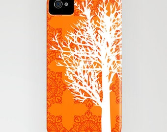 Tree on Orange Phone Case - Samsung Galaxy S6 , iPhone 6S, iPhone 6 Plus, floral, Gift Ideas for her, Gift Ideas, iPhone 8
