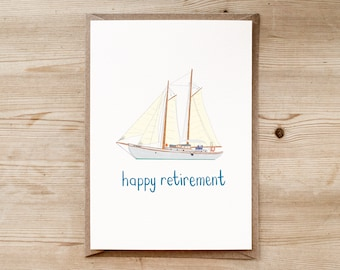 Retirement Card | Boat Card | Yacht Card | Good Luck Card | Good Luck For The Future | Sorry You Are Leaving | You Are Retiring |