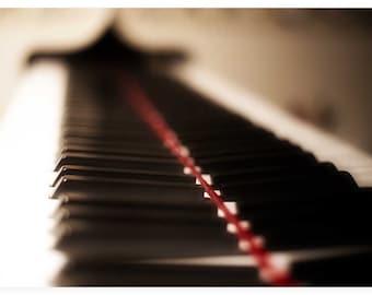Photo Print - Piano Dreams, Ivory Piano Keys, Black and White Piano, Piano Keys Reflection