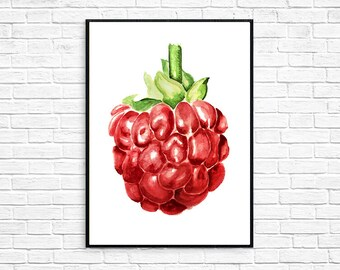 Raspberry Watercolor Painting Fruit Print Poster