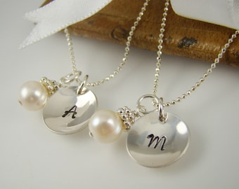 Personalized Flower Girl Necklaces, Pearl Necklace, Flower Girl Initial Necklace, Sterling Silver