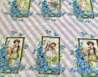 OOP Troy Corp Cotton Fabric - VINTAGE POSTCARDS - 24 Panel - by Char Hopeman of Cotton Cottage Press