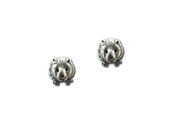 Pewter Hamster Post Earrings