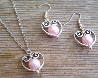 Bridal Jewelry Set, Filigree Silver Heart Jewelry Set, Pink Pearl Beads, Silver Heart Pendant Necklace, Silver Heart Earrings