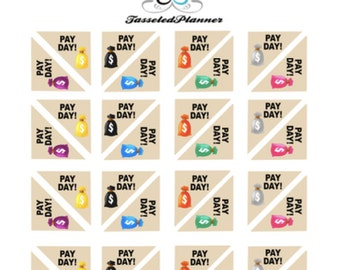 Pay Day Corner Box Mini Planner Sticker/ Pay day Sticker/ Planner Sticker/ Erin Condren Sticker