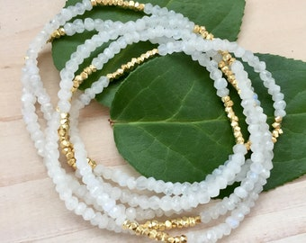 White Moonstone and Gold Vermeil Necklace/ Wrap Bracelet on Elastic Cord