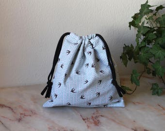 Medium size Knitting Project Bag, Project Bag, Drawstring Bag