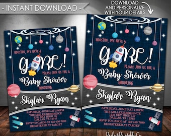 Outer Space Baby Shower Invitation, Planet Baby Shower Invitation, Solar System, It's a Girl, Pink, Instant Download, Printable #626
