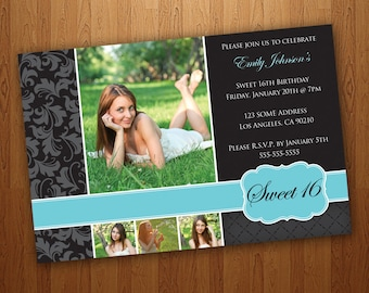 Printable Sweet 16 Invitations / Sweet Sixteen Invitations - Blue  (4 Pictures)