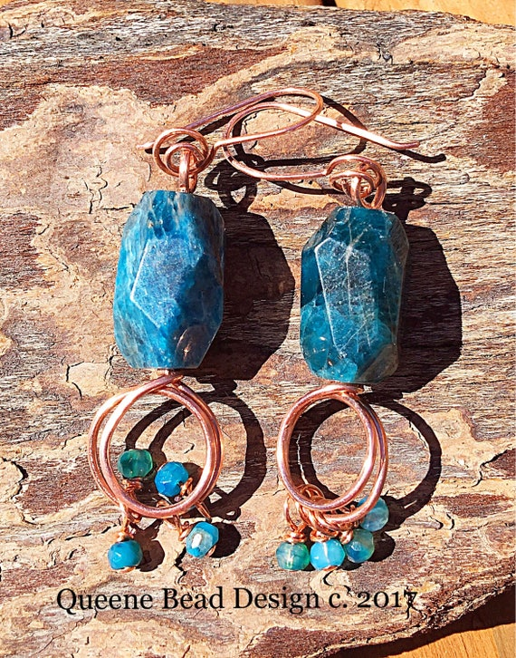Copper and Apatite Earrings #queenebead