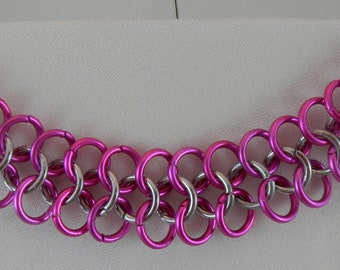 Pink und Silber Chainmaile Armband