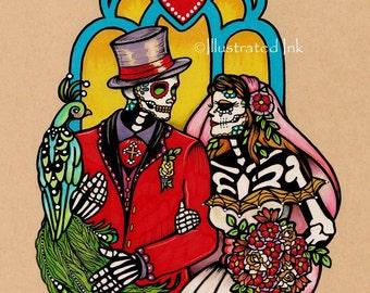 Dia de los Muertos WEDDING COUPLE Day of the Dead Art Print 5 x 7, 8 x 10 or 11 x 14