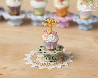 """Easter """"Showstopper MMTO -Cupcake (G) - Tree in Leaf, Butterfly, Blossom - Miniature Food in 12th Scale"""