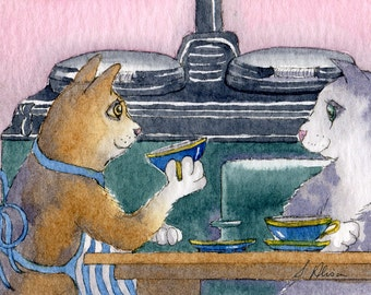 ginger silver tabby cat 8x10 signed art print - cup of tea in the kitchen