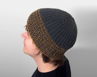 mens vegan hat made by hand -- the torse in charcoal grey and gold stripes