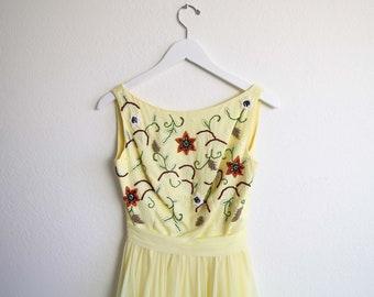VINTAGE Dress 1950s Dress Yellow Chiffon Full Skirt Beaded Party Dress XS
