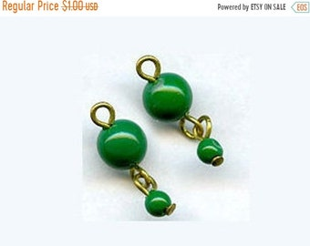 20% OFF Vintage Japanese jade green 2-bead dangle on wire. 6-and-3mm. Pkg of 4. b11-gr-0949(e)