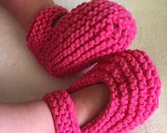 Hand knitted Mary Jane Baby Booties.