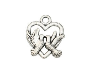Set of 5 charms in silver heart (B27) Dove couple