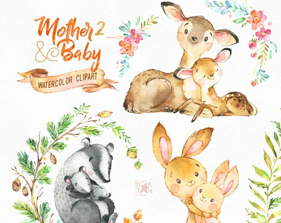 Mutter & Baby 2. Aquarell Tiere Clipart Reh Hase Brock