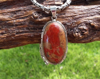 Dragon Blood Jasper sterling silver pendant