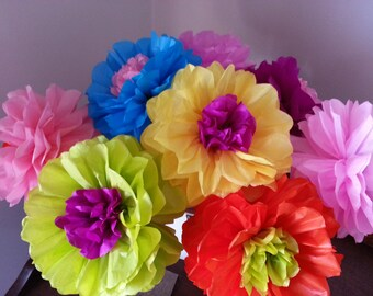 Tissue Paper Fiesta Flowers - Set of 8 Tissue paper flower - Parties decor//Cinco de Mayo//Fiesta Decor//Mexico//Decoration