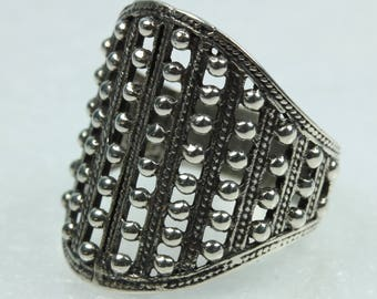 Boho Sterling Silver Cuff Ring Size: R-8 5/8
