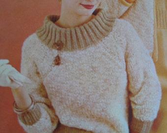 Knit Sweater Pattern - Vintage PDF Pattern, 1960's Ladies' Knit Sweater 424
