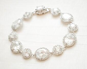 Crystal Bridal Bracelet, Crystal Wedding Bracelet, CZ Bracelet, Crystal Bracelet Silver