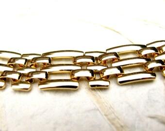 Retro Vintage Gold Tone Triple Bar Weave Link Necklace